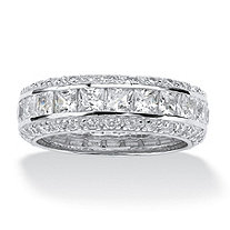 SETA JEWELRY 4.17 TCW Princess-Cut CZ Eternity Ring in Platinum over .925 Sterling Silver