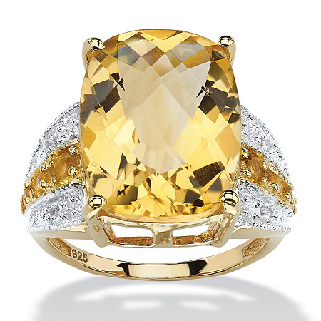 9.96 TCW Checkerboard-Cut Citrine and White Topaz Ring in 14k Gold over .925 Sterling Silver at PalmBeach Jewelry