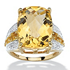 Related Item 9.96 TCW Checkerboard-Cut Citrine and White Topaz Ring in 14k Gold over .925 Sterling Silver