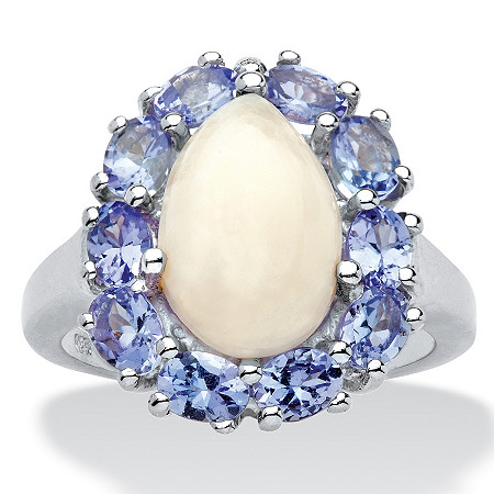 3.05 TCW Pear-Shaped Genuine Opal and Pear-Cut Violet Tanzanite Halo Cabochon Cocktail Fashion Ring in Platinum over Sterling Silver at PalmBeach Jewelry