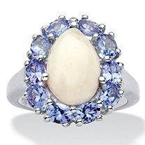 3.05 TCW Pear-Shaped Genuine Opal and Pear-Cut Violet Tanzanite Halo Cabochon Cocktail Fashion Ring in Platinum over Sterling Silver