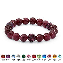 Genuine Agate and Birthstone Beaded Stretch Bracelet 8""