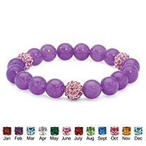 Genuine Agate and Simulated Birthstone Beaded Stretch Bracelet 8