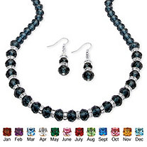 Beaded Simulated Birthstone Necklace and Earrings Set in Silvertone
