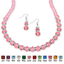 SETA JEWELRY Beaded Simulated Birthstone Necklace and Earrings Set in Silvertone