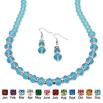 Beaded Birthstone Necklace and Earrings Set in Silvertone