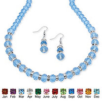 SETA JEWELRY Beaded Birthstone Necklace and Earrings Set in Silvertone