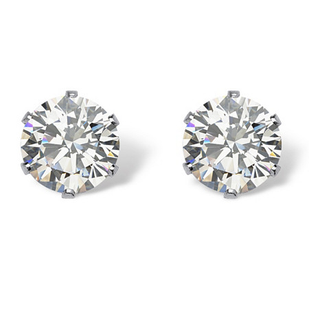 Round Cubic Zirconia Stud Earrings 2 TCW in Silvertone at PalmBeach Jewelry