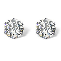 Round Cubic Zirconia Stud Earrings 2 TCW in Silvertone