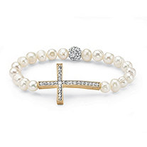 Genuine Cultured Pearl and Crystal Horizontal Cross Stretch Bracelet in Yellow Gold Tone 8""