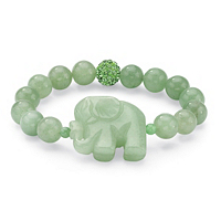 """Green Agate Elephant And Simulated Emerald Beaded Stretch Bracelet 8"""""""
