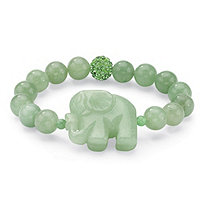 Green Agate Elephant and Crystal Beaded Stretch Bracelet 8""