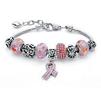 Breast Cancer Awareness Pink Crystal Bali-Style Half Beaded Silvertone Bracelet Adjustable 8