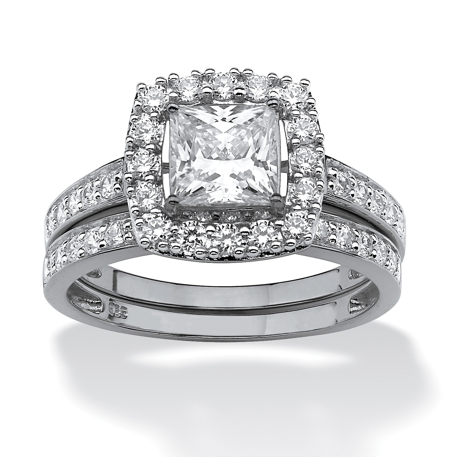 1.93 TCW Princess Cut Cubic Zirconia Two Piece Bridal Set In Platinum Over  Sterling Silver At PalmBeach Jewelry
