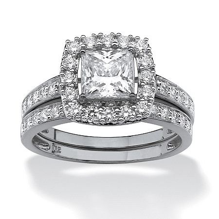 1.93 TCW Princess-Cut Cubic Zirconia Two-Piece Bridal Set in Platinum over Sterling Silver at PalmBeach Jewelry