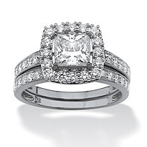 1.93 TCW Princess-Cut Cubic Zirconia Two-Piece Bridal Set in Platinum over Sterling Silver