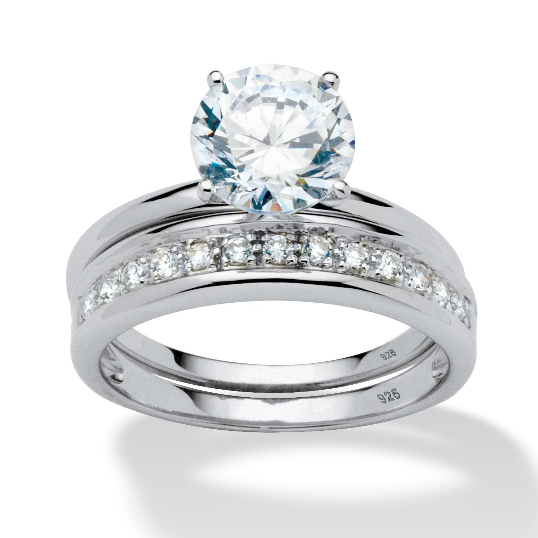 2.20 TCW Round Cubic Zirconia Wedding Ring Set In Platinum