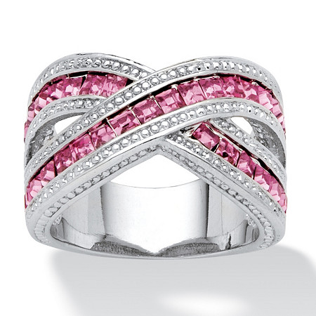 2.52 TCW Pink Princess-Cut Cubic Zirconia Crossover Ring in Silvertone at PalmBeach Jewelry