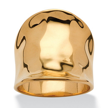 Concave Cigar Band Ring 18k Gold Plated at PalmBeach Jewelry