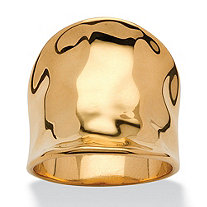 SETA JEWELRY Concave Cigar Band Ring 18k Gold Plated
