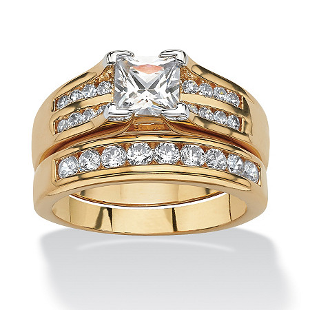 1.82 TCW Princess-Cut and Round Cubic Zirconia 18k Gold-Plated Wedding Ring Set at PalmBeach Jewelry