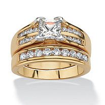 1.82 TCW Princess-Cut and Round Cubic Zirconia 18k Gold-Plated Wedding Ring Set