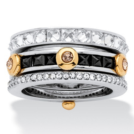 3.69 TCW Princess-Cut Cubic Zirconia and Crystal Ring in Silvertone and Yellow Gold Tone at PalmBeach Jewelry