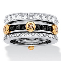SETA JEWELRY 3.69 TCW Princess-Cut Cubic Zirconia and Crystal Ring in Silvertone and Yellow Gold Tone