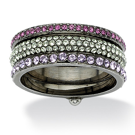 Multicolor Round Crystal Eternity 3-Piece Stack Ring Set Black Ruthenium-Plated at PalmBeach Jewelry