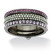 Related Item Multicolor Round Crystal Eternity 3-Piece Stack Ring Set Black Ruthenium-Plated