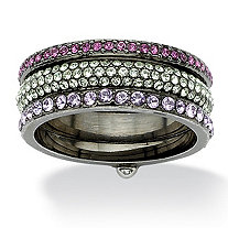 Multicolor Round Crystal Eternity 3-Piece Stack Ring Set Black Ruthenium-Plated