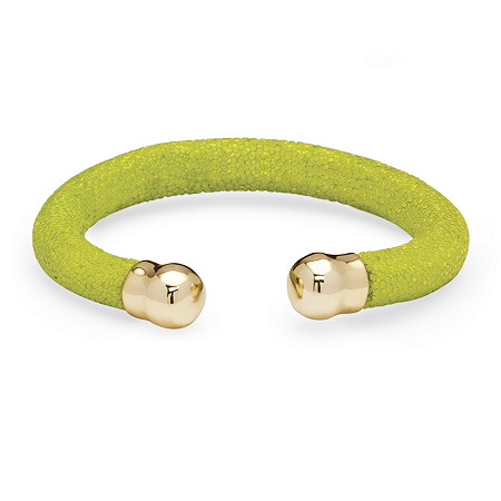 "Lime Green Stingray Bracelet in Yellow Gold Tone 8"" at PalmBeach Jewelry"