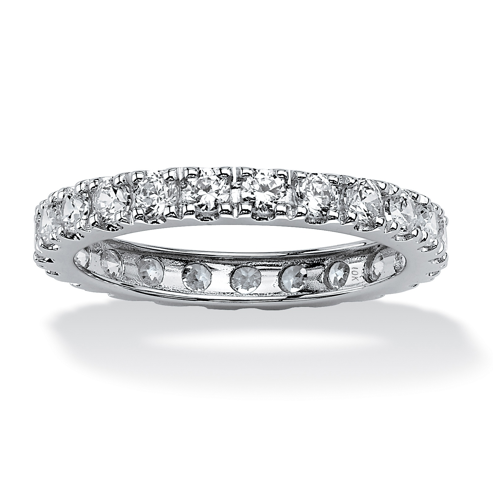 This is a photo of 44.44 TCW Round Cubic Zirconia Eternity Band in Solid 44k White