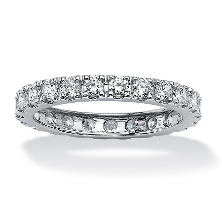 2.40 TCW Round Cubic Zirconia Eternity Band in Solid 10k White Gold at PalmBeach Jewelry