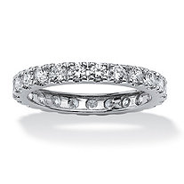 SETA JEWELRY 2.40 TCW Round Cubic Zirconia Eternity Band in Solid 10k White Gold