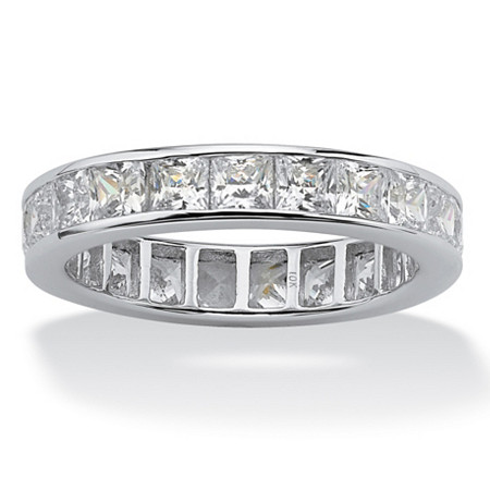 Princess-Cut Cubic Zirconia Eternity Band 5.29 TCW in Solid 10k White Gold at PalmBeach Jewelry