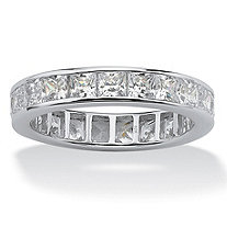 Princess-Cut Cubic Zirconia Eternity Band 5.29 TCW in Solid 10k White Gold