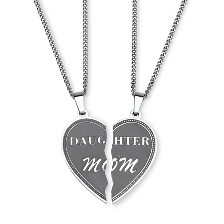 Stainless Steel Daughter Mom Breakaway Pendant Necklaces 18