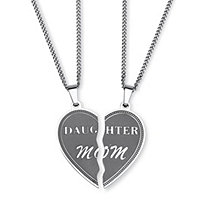 Stainless Steel Daughter Mom Breakaway Pendant Necklaces 18""