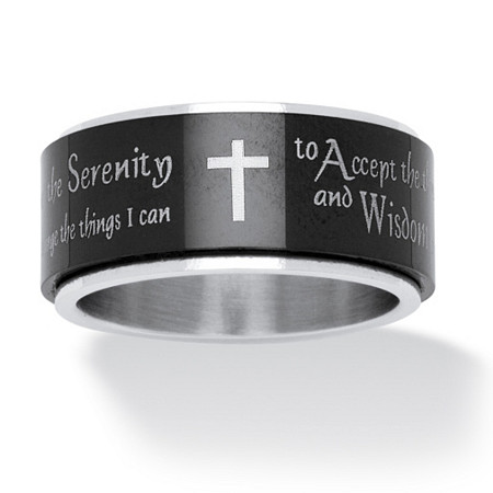Serenity Prayer Cross Spinner Ring in Black IP Stainless Steel and Stainless Steel at PalmBeach Jewelry