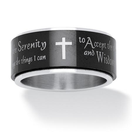 Serenity Prayer Cross Spinner Ring In Black Ip Stainless