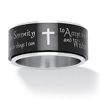 SETA JEWELRY Serenity Prayer Cross Spinner Ring in Black IP Stainless Steel and Stainless Steel