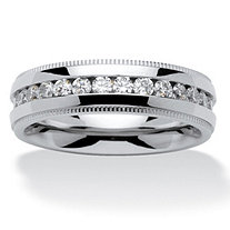 SETA JEWELRY Men's 1.12 TCW Round Cubic Zirconia Eternity Band in Stainless Steel Sizes 8-16