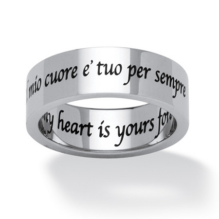 Il Mio Cuore E Tuo Per Sempre (Italian) My Heart is Yours Forever Ring in Stainless Steel at PalmBeach Jewelry