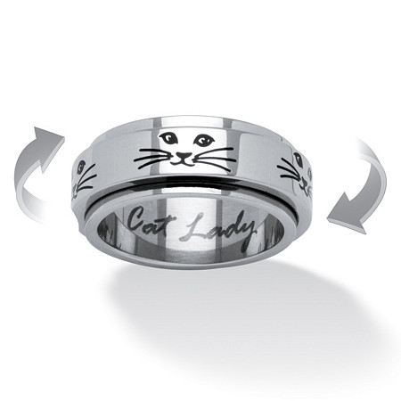 Cat Lady Spinner Ring in Black IP Stainless Steel at PalmBeach Jewelry