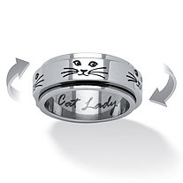 SETA JEWELRY Cat Lady Spinner Ring in Black IP Stainless Steel