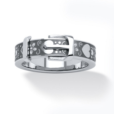 Hearts and Flowers Buckle Ring in Stainless Steel at PalmBeach Jewelry