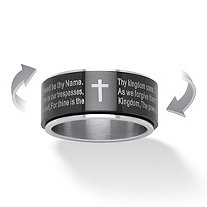 Lord's Prayer Spinner Ring in Black Ion-Plated Stainless Steel