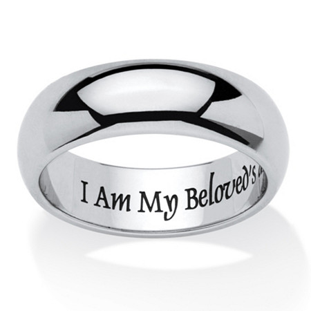 I Am My Beloved's And My Beloved's Is Mine Ring in Stainless and Black IP Stainless Steel at PalmBeach Jewelry