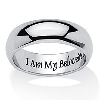 I Am My Beloved's And My Beloved's Is Mine Ring in Stainless and Black IP Stainless Steel